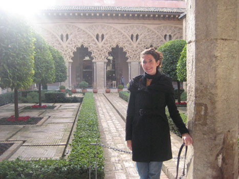 Spanish teacher Kirsten Hope poses at the Alcazar in Zaragosa, Spain. Hope begins here first year at South Lakes, moving from Spain.