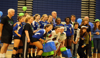 Varsity volleyball loses to Madison during senior night 3-0
