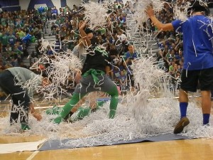 Students make strategic moves during board game themed pep rally