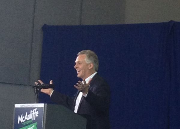 Democratic gubernatorial candidate Terry McAuliffe speaks to supporters at a campaign rally Sunday, Nov. 3.