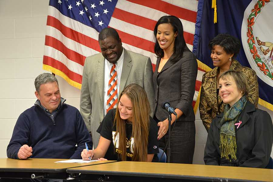 Senior Abby Rendle signed a letter of intent to play Division I basketball at the College of William and Mary Nov. 13.