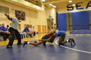 Varsity wrestling celebrates senior night during double duel