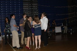 Students socialize at the beginning of the Sadie Hawkins Dance Feb. 7. The dance started at 8:00 p.m. and ended at 11:00 p.m.