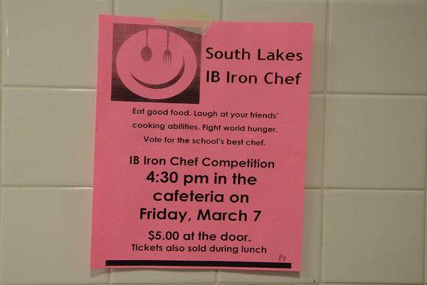 Flyers for the IB Iron Chef competition can be found in the hallways.