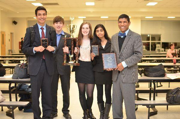 Lincoln-Douglas debaters (from left to right) junior Amar Singh, junior Julian Levy-Myers, senior Grace Erard, junior Sahana Thirumazhusai, and sophomore Kiran Hampton pose with the awards they won at the WACFL Metro Finals tournament held at Dominion High School Feb. 28-March 1.