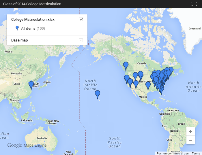 Class of 2014 College Matriculation Map