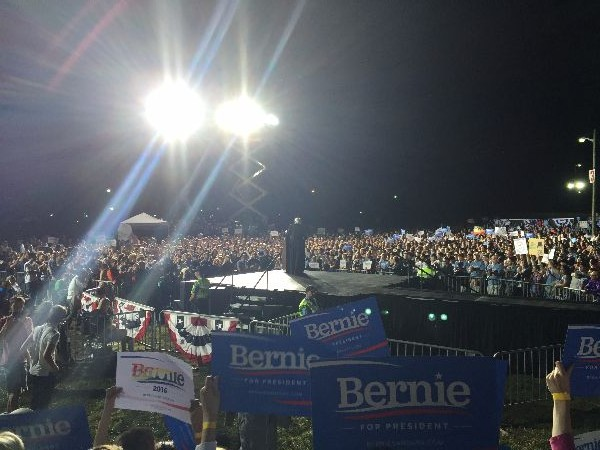 Supporters of Bernie Sanders gathered at Manassas rally.