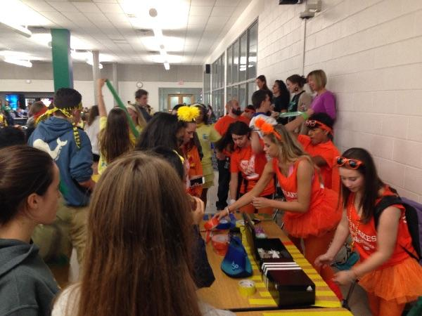 Many students during Lunch raced to the back of the cafeteria to buy duct tape for Thursday's lunch game.