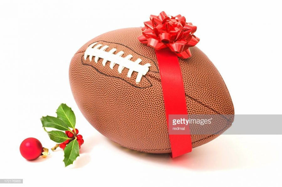 Christmas -themed football, photo by redmal taken from Getty Images