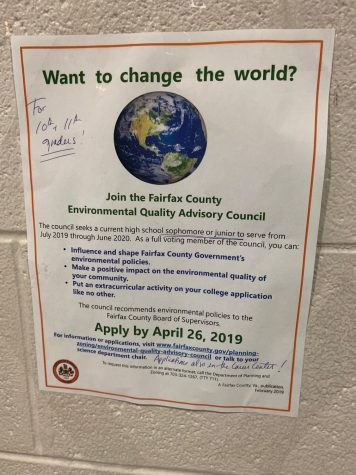 Join the Fairfax County Environmental Quality Advisory Council! For all 10th-11th graders