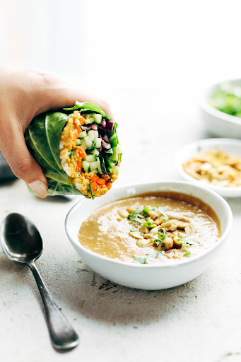 Photo of Veggie Roll-ups, taken from  https://pinchofyum.com/detox-rainbow-roll-ups-peanut-sauce